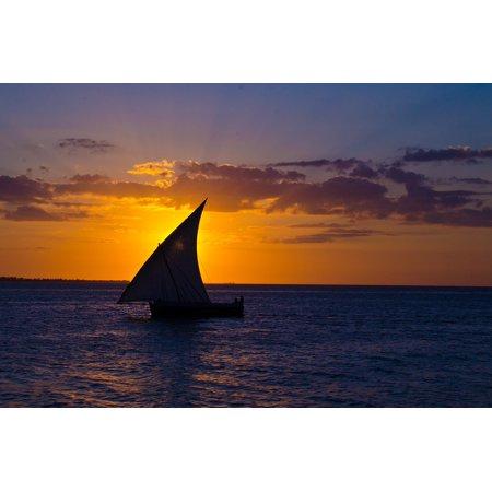 Framed Art for Your Wall Sea Ocean Zanzibar Sail Water Sunset Relax Boat 10x13 Frame (Zanzibar Set)