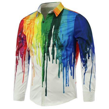 - Colorful Paint Dripping Print Covered Button Front Long Sleeve Shirt