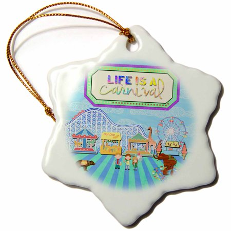 3dRose Life is a Carnival, Popcorn, At the Fair, Roller Coaster, Ferris Wheel - Snowflake Ornament, 3-inch