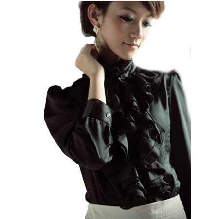 AMZ PLUS Brand Noble Luxury Victorian Tops Women Shirt Ruffle Flounce Ladies Blouse (S, Black)