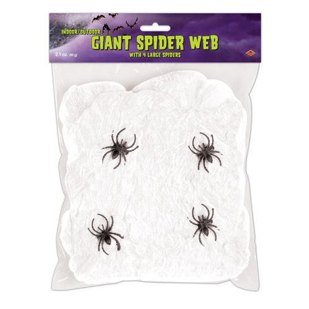 Club Pack of 12 Flame Resistant Giant White Halloween Spider Web with Spiders