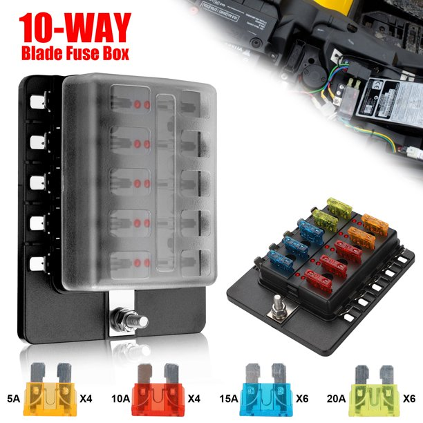 Boat Fuse Block, EEEkit Waterproof Fuse Panel with LED Indicator Protection  Cover, Negative Bus Fuse Box Holder for Car Marine RV Truck DC 10-32V, Fuses  Included - Walmart.com - Walmart.comWalmart
