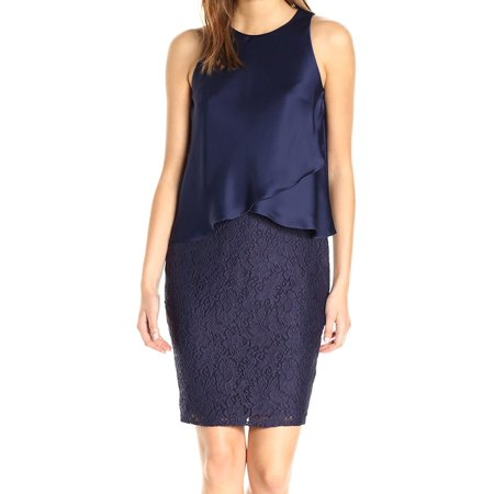 Blue Women's Satin Popover Lace Dress $304 8