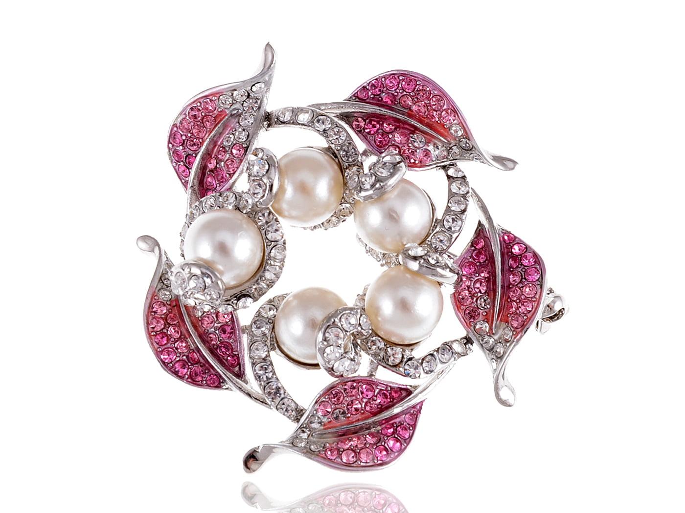 Rose Pink Faux Cream Pearl Leaf Wreath Crystal Rhinestone Pin Brooch by
