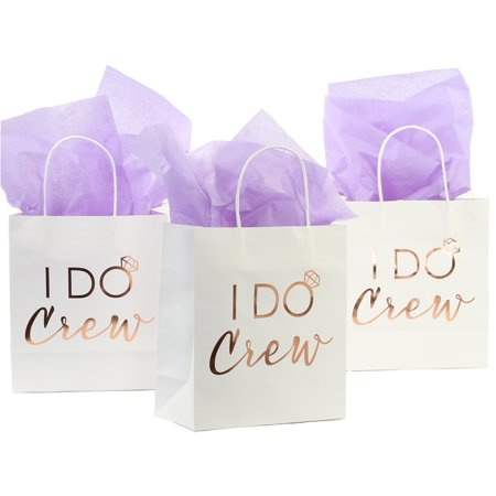 Andaz Press I Do Crew Gift Bags, Real Rose Gold Foil in Bulk Set of 12 Pack, Wedding Party DIY Gift Bag with Handles - Small Gift Bags In Bulk
