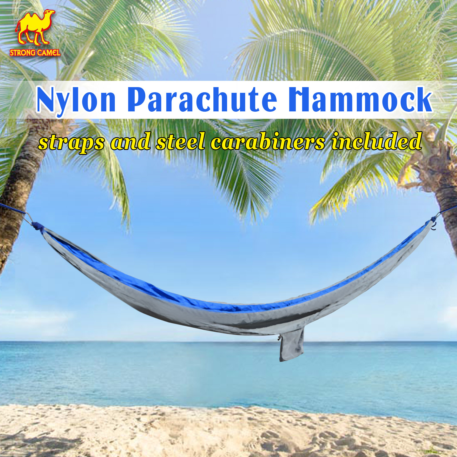 Strong Camel Portable Nylon Parachute Hammock Light Travel Camping Hiking Swing Bed-Blue