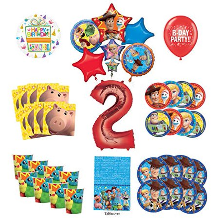 Toy Story 2nd Birthday Party Supplies 8 Guest Decoration Kit with Woody, Buzz Lightyear and Friends Balloon Bouquet - Woody Party Decorations