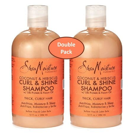 - Shea Moisture Coconut & Hibiscus Curl & Shine Shampoo w/ Silk Protein & Neem Oil 12 oz. – Thick Curly Hair – Value Double Pack Qty of 2