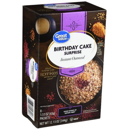 4 Pack Great Value Birthday Cake Surprise Instant Oatmeal 151 Oz 8