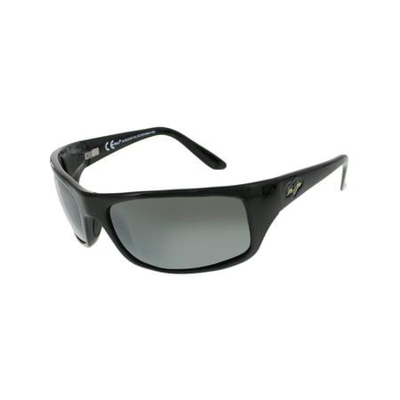Maui Jim Men's Polarized Peahi 202-02 Black Rectangle Sunglasses (Maui Jim Xl Sonnenbrille)
