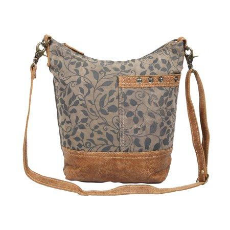 Floral Print Upcycled Canvas and Genuine Leather Shoulder Bag Leather Print Hobo Bag