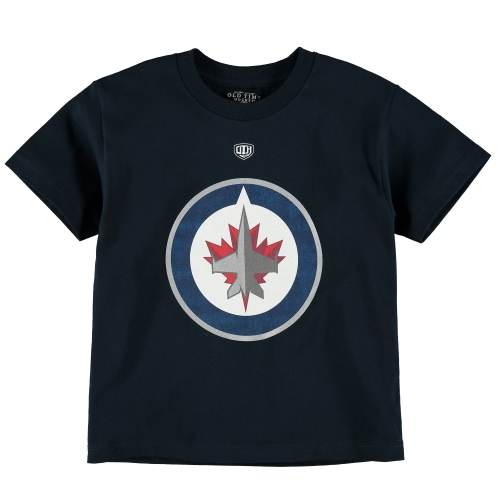 Old Time Hockey Winnipeg Jets Youth Big Logo T-Shirt Navy by Old Time Sports