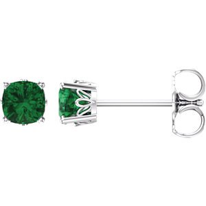 Jewels By Lux 14k White Gold Set Chatham Emerald 04.00X04.00 mm Pair Polished Scroll Earrings