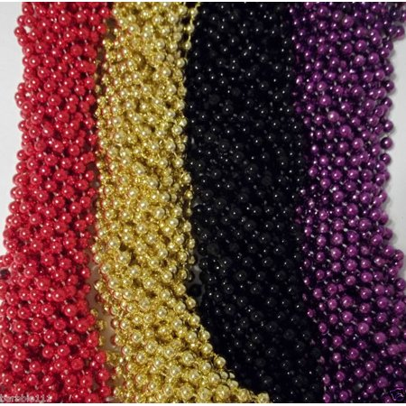 48 Ravens 49er's Purple Black Red Gold Mardi Gras Beads Superbowl Favor Tailgate](Black And Gold Mardi Gras Beads)