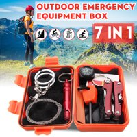 SOS Outdoor Survival Kit Emergency Equipment Supplies First Aid Survival Gear Tool Kits Set Package Box for Hiking Camping