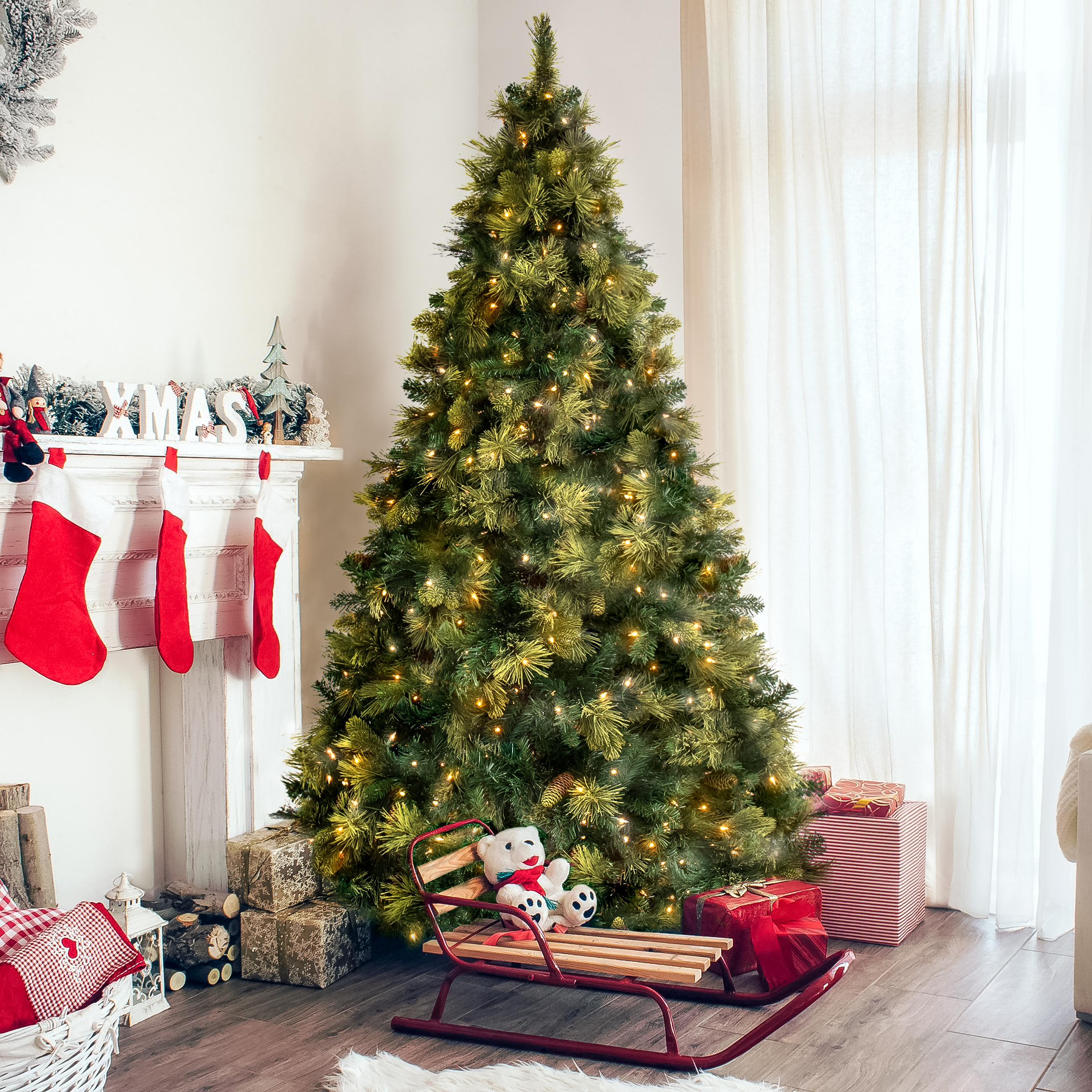 Best Choice Products 7.5ft Pre-Lit Premium Faux Hinged Artificial Christmas Pine Tree w/ 86 Flocked Cones, 750 UL Certified Lights, Stand - Green