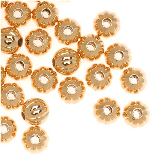 Genuine 22K Gold Plated Fluted Corrugated Round Metal Beads 4mm (100)