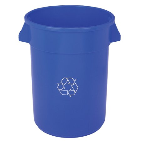 Continental Commercial Products 22 x 27.38 In. Plastic Huskee Open Top Round Recycling Receptacle, Blue