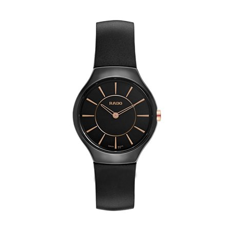 c59a458cd Rado - True Thinline Black Ceramic Womens Watch Rubber Strap Quartz  R27742159 - Walmart.com