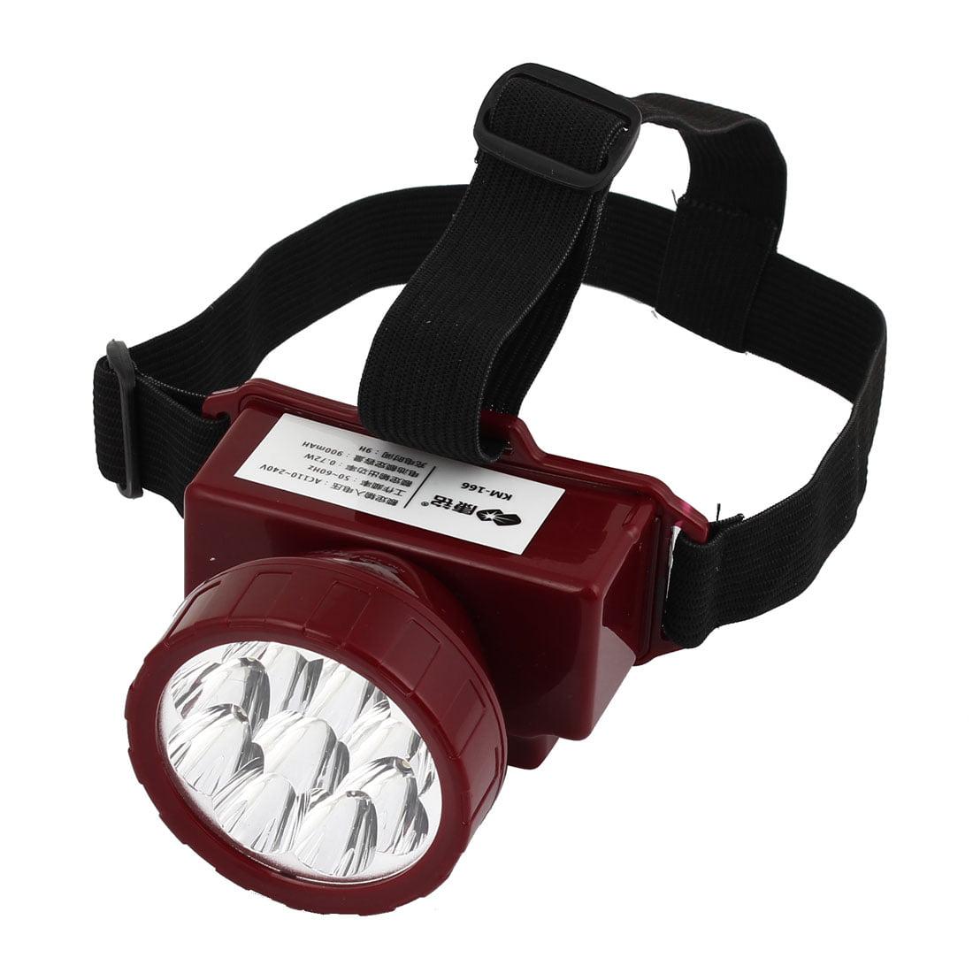 Unique Bargains  110V-220V US Plug Plastic 9 White LEDs Head Torch Headlamp Red