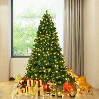 Gymax Pre-Lit PVC 7' Artificial Christmas Tree Hinged LED Lights Metal Stand