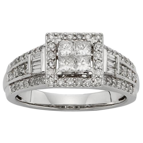Sofia  10k White Gold 1ctTW Diamond Engagement Ring