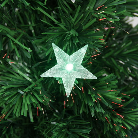 3 Pre Lit Led Color Changing Fiber Optic Christmas Tree With Stars