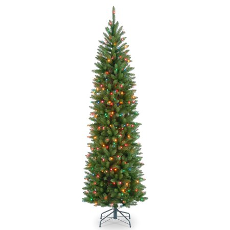 7' Kingswood Fir Pencil Tree with Multicolor Lights - Japanese Pencil Tree
