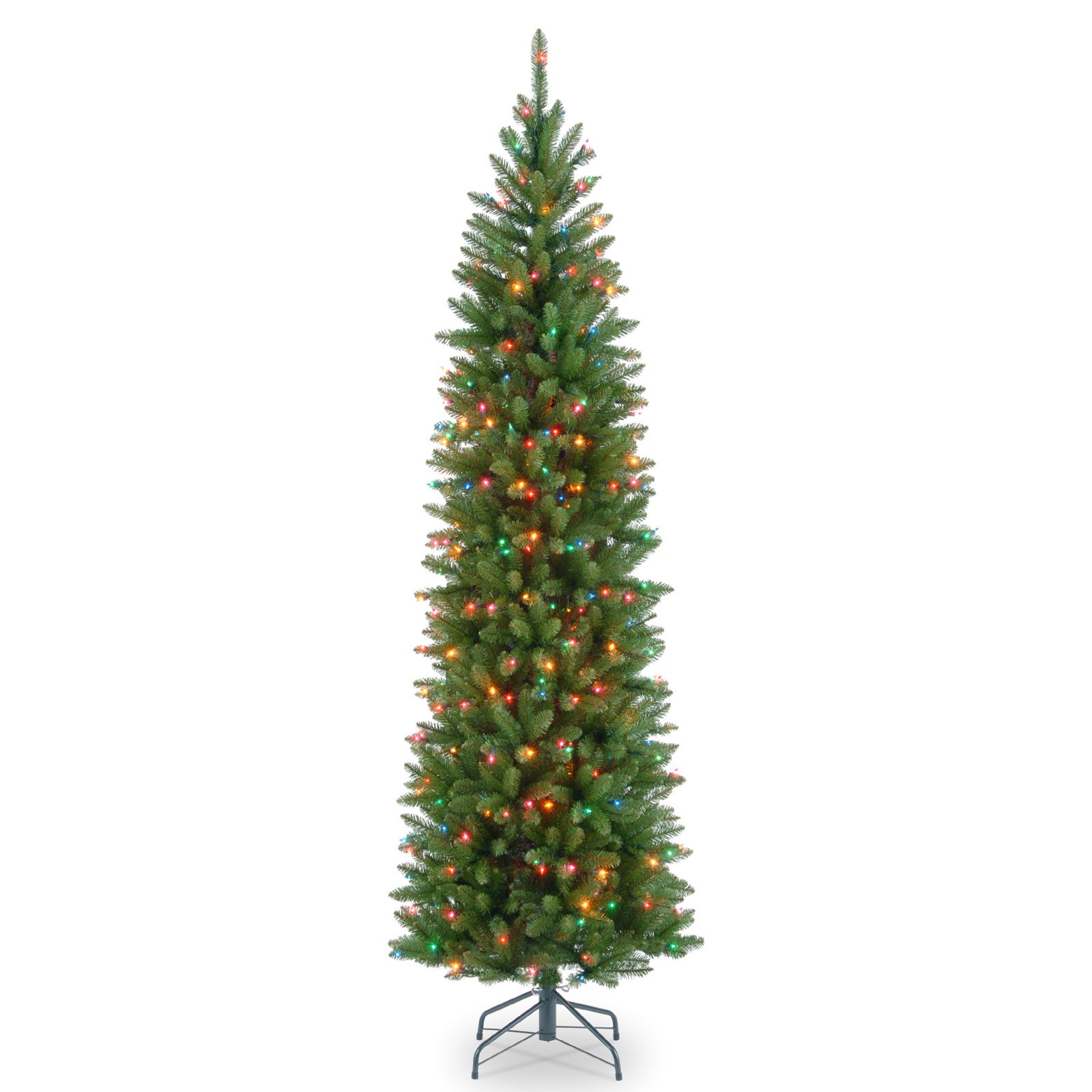 7' Kingswood Fir Pencil Tree with Multicolor Lights