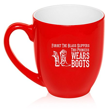 16 oz Large Bistro Mug Ceramic Coffee Tea Glass Cup Princess Wears Boots Cowgirl (Red) - Cowgirl Ideas To Wear