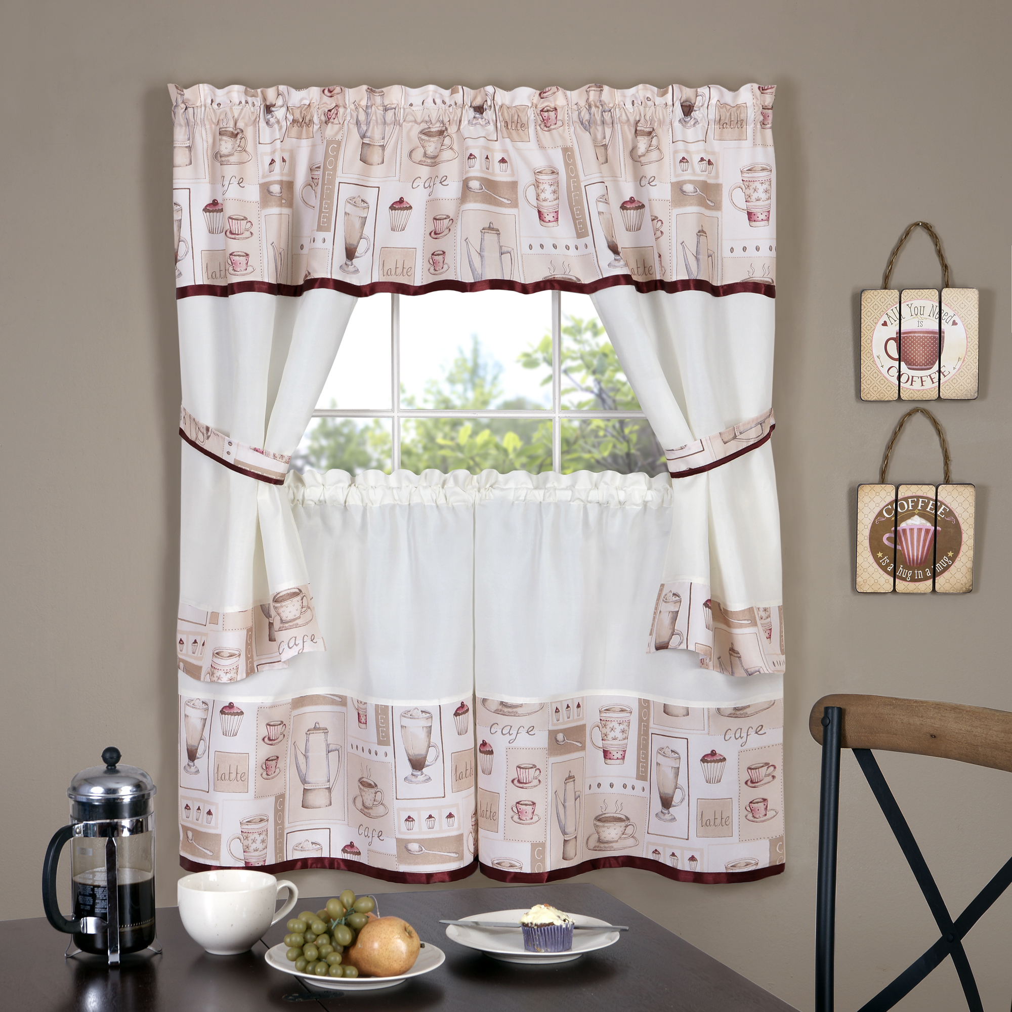 Achim Cappuccino Embellished Cottage Window Curtain Set