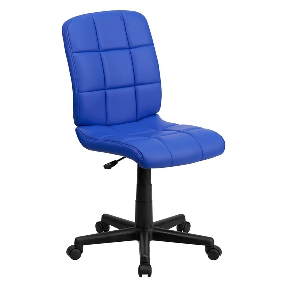 Mid-Back Blue Quilted Vinyl Swivel Task Chair, Mid-Back Swivel Computer Chair By Flash Furniture