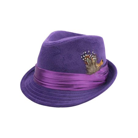 Purple Wool Felt Fedora Hat With Feather Trim (Felt Hat With Feather)