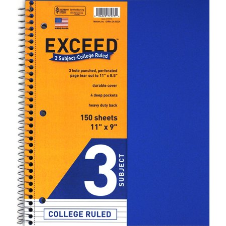Norcom Exceed 3-Subject College Ruled Notebook, 11 x 9