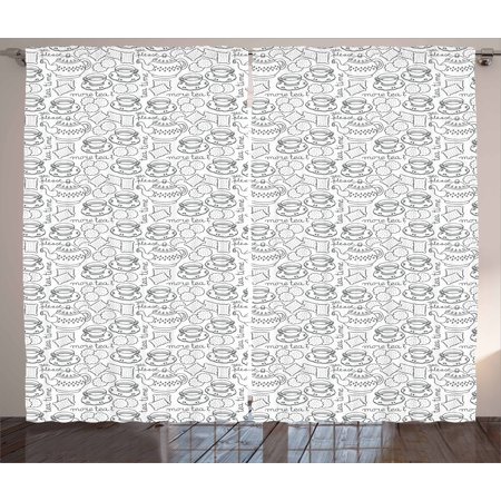 Tea Party Curtains 2 Panels Set, Doodle Drawing Monochrome Tableware Pattern with Biscuits and More Tea Quote, Window Drapes for Living Room Bedroom, 108W X 96L Inches, Grey White, by Ambesonne