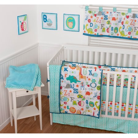 Sumersault ABC All Over 9-Piece Nursery in a Bag Crib Bedding Set with BONUS Bumper by
