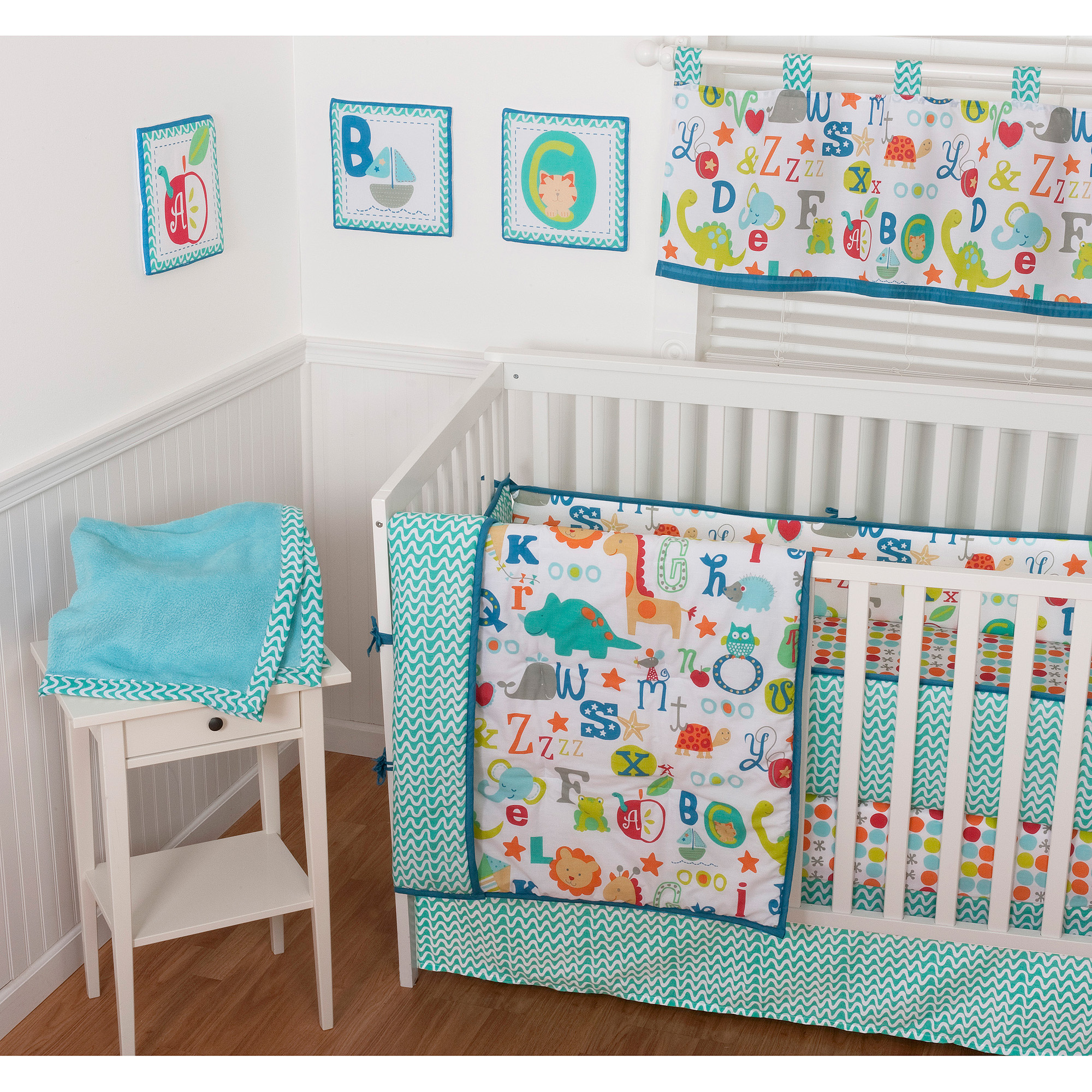 Sumersault ABC All Over 9-Piece Nursery in a Bag Crib Bedding Set with BONUS Bumper