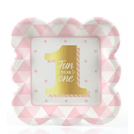 - Fun to be One - 1st Birthday Girl with Gold Foil - Dessert Plates (8 count)