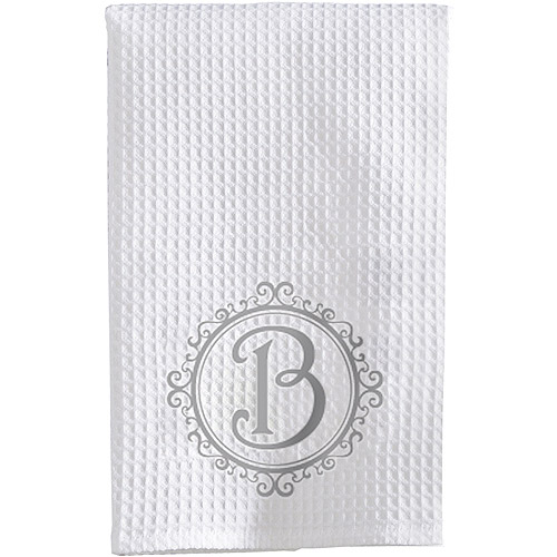 Personalized Initial Waffle Weave Towel, Silver Font