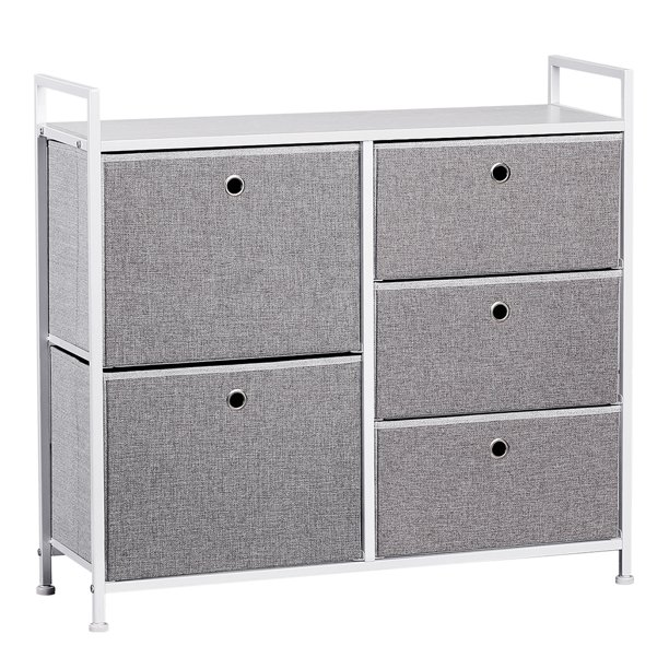 Faux Linen Home Dresser Tower With 5 Easy Pull Drawers And