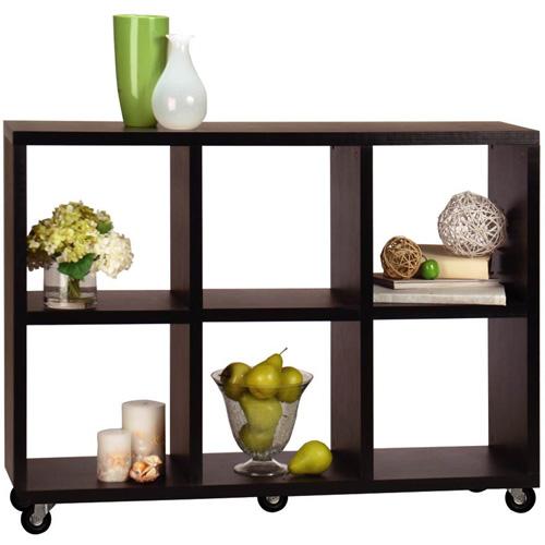 Convenience Concepts Northfield 6-Cube Rolling Shelf, Espresso