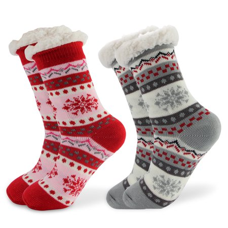 2 Pairs Thick Winter Slipper Socks Snowflake Fleece Lining Knit Christmas Knee Highs Stockings ()