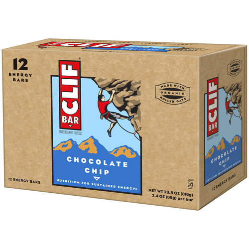 CLIF Bar Chocolate Chip Energy Bars, 2.4 oz, 12 count