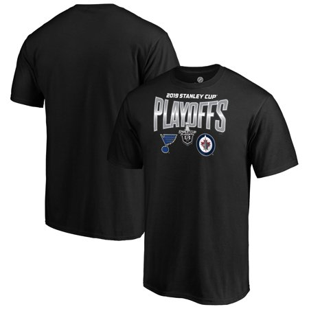 St. Louis Blues vs. Winnipeg Jets Fanatics Branded 2019 Stanley Cup Playoffs Matchup Checking the Boards T-Shirt - Black