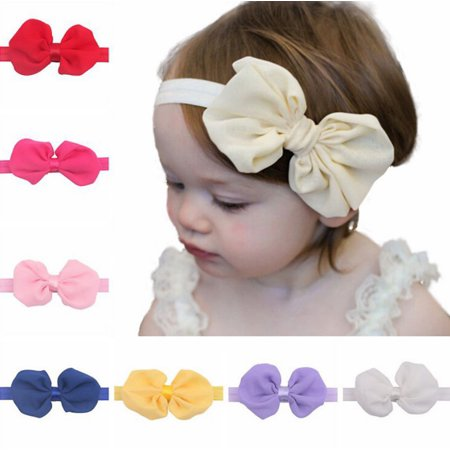 12Pcs Cute Kids Girl Baby Chiffon Toddler Flower Bow Headband Hair Band Headwear (Silk Flower Headbands)