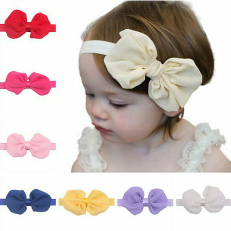 12Pcs Cute Kids Girl Baby Chiffon Toddler Flower Bow Headband Hair Band Headwear (Flower Headband)