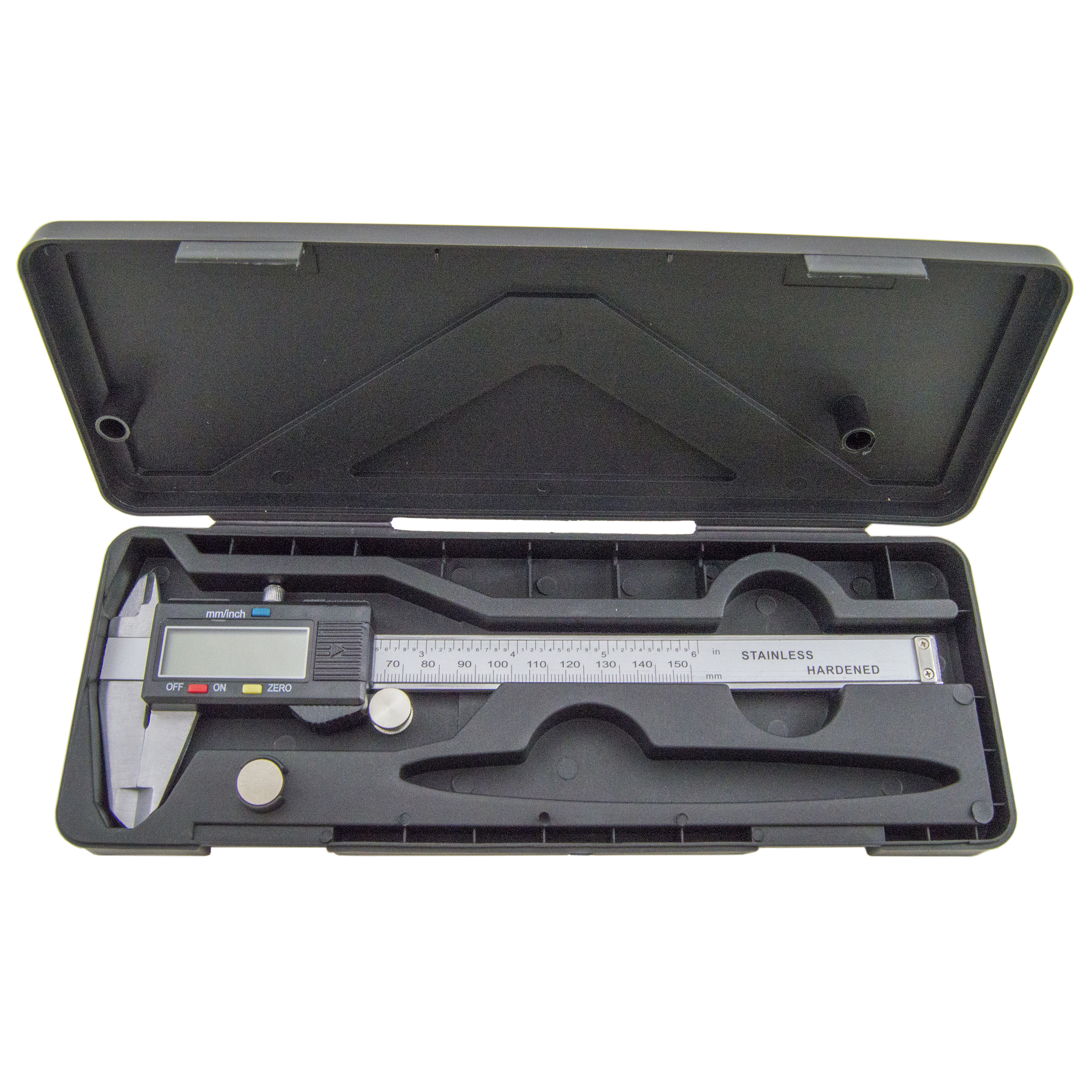 Steel 6-Inch Digital Caliper with Extra-Large LCD Screen with Battery and Case