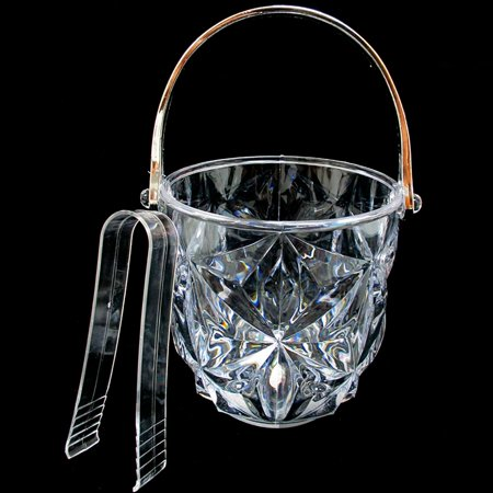 Clear Acrylic Ice Bucket Bar Tong Container Plastic Wine Chiller Cooler Bpa Free ()