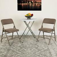 Flash Furniture 2 Pk. HERCULES Series Curved Triple Braced & Double Hinged Beige Fabric Metal Folding Chair