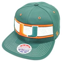 14b24fbc Product Image NCAA Zephyr Miami Hurricanes Epic Snapback Flat Bill Hat Cap  Green Canes Sports